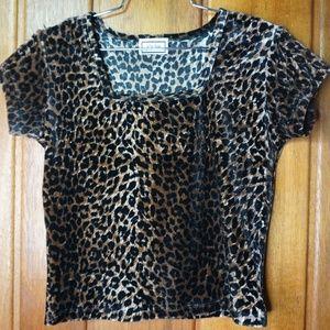 Joule Leopard Animal Print Short Sleeve Blouse